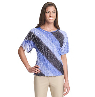 NY Collection Scoopneck Bias Cut Ruffle Ombre Top