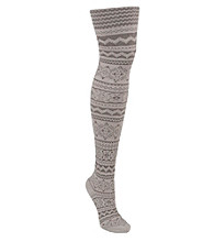 MUK LUKS® Patterned Microfiber Tights - Pearl Battleship
