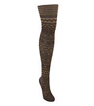 MUK LUKS® Patterned Microfiber Tights - Camel Java