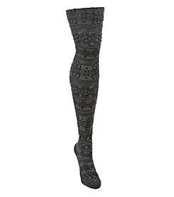 MUK LUKS Patterned Microfiber Tights - Blue Steel/Ash