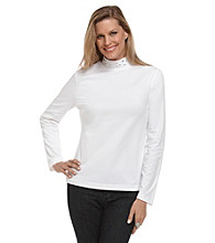 Breckenridge® Solid Mockneck Top With Embellished Neck