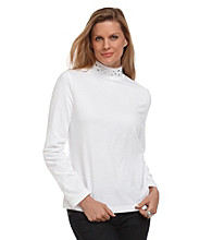 Breckenridge® Petites' Mockneck Top With Embellished Neck
