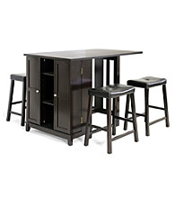 Baxton Studios Aurora 5-pc. Dark Brown Counter Height Dining Set with Cabinet Base