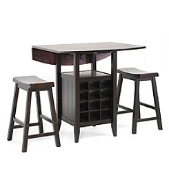 Baxton Studios Reynolds Black 3-pc. Modern Drop Leaf Pub Set with Wine Rack