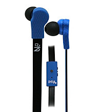 iHip® Blue Solid Flat Cord Earphones with Built-in Microphone