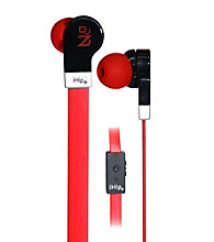 iHip® Red Solid Flat Cord Earphones with Built-in Microphone