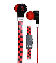 iHip® Check Printed Flat Cord Earphones with Built-in Microphone
