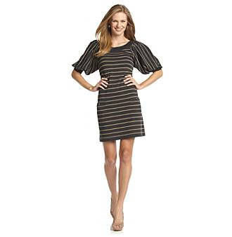 Jessica Howard® Shirred-Sleeve Striped Sweater Dress