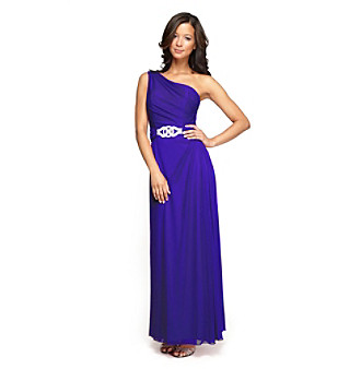 Alex Evenings® Full-Length One-Shoulder Cocktail Dress
