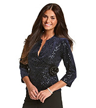 Cachet® Sequined Wrap Top