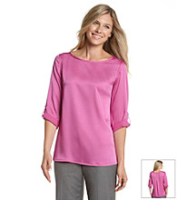 Kasper® Roll-Sleeve Blouse