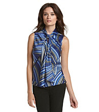 Kasper® Printed Tie-Neck Sleeveless Blouse