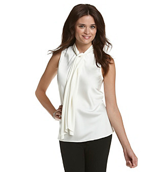 Kasper® Plus Size Charmeuse Tie-Neck Blouse