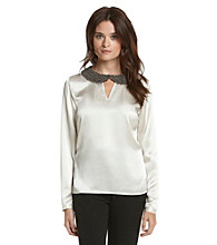 Nine West® Charmeuse Embellished-Collar Blouse
