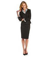 Le Suit® Plus Size Organza Wing-Collar Skirt Suit