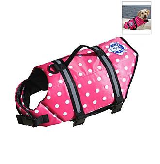 Paws Aboard Designer Pink Polka Dot Doggy Life Jacket