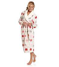 Dearfoams Long Shawl Collar Robe - Fairisle Cheer