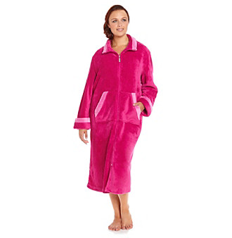 Jasmine Rose® Plus Size Fleece Zip Robe