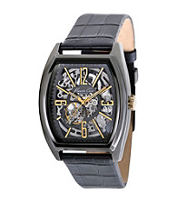 Kenneth Cole New York® Men's Gunmetal and Goldtone Automatic Leather Strap Watch