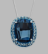 Blue Crystal Pendant in Sterling Silver