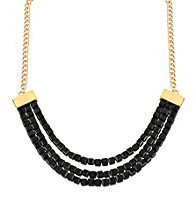 Kenneth Cole® Jet Black Square Bead Three Row Frontal Necklace