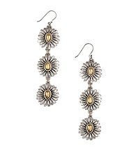 Lucky Brand® Two Tone Floral Linear Earrings