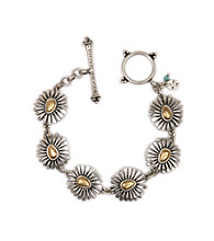 Lucky Brand® Two Tone Floral Toggle Bracelet