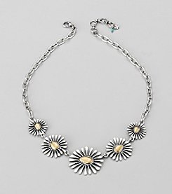 Lucky Brand® Two Tone Floral Chain Collar Necklace