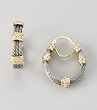 Cellini Stainless Steel/Goldtone Three Cable Text Bar Station Click Hoop Earrings