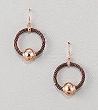 Cellini Chocolate Stainless Steel/Rose Bead Cable Hoop Drop Earrings