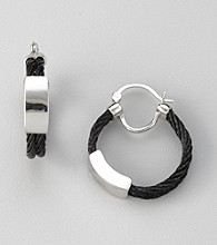 Cellini Black Stainless Steel/Silvertone ID Front Cable Hoop Earrings