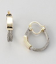 Cellini Stainless Steel/Goldtone ID Front Cable Hoop Earrings