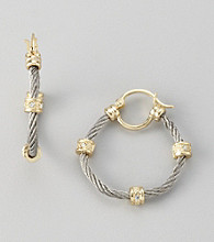 Cellini Stainless Steel/Goldtone Pave Station Cable Hoop Earrings