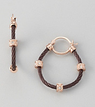 Cellini Chocolate Stainless Steel/Rose Goldtone Pave Station Cable Hoop Earrings