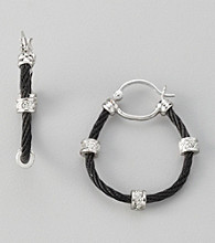 Cellini Black Stainless Steel /Silvertone Pave Station Cable Hoop Earrings
