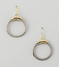 Cellini Stainless Steel/Goldtone Hoop Drop Earrings