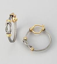 Cellini Stainless Steel/Goldtone Knot Earrings