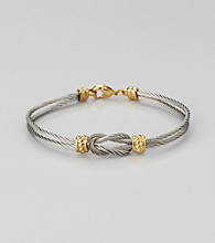 Cellini Stainless Steel Silver/Gold Knot Frontal Bracelet