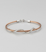 Cellini Stainless Steel Rose/Silver Pave Swirl Cable Bracelet