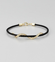 Cellini Stainless Steel Black/Gold Pave Swirl Cable Bracelet