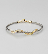 Cellini Stainless Steel Silver/Gold Pave Swirl Cable Bracelet