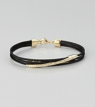 Cellini Stainless Steel Black/Gold Pave Diagonal Cable Lobster Clasp Bracelet