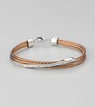 Cellini Stainless Steel Rose/Silver Pave Diagonal Cable Bracelet