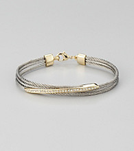 Cellini Stainless Steel Silver/Gold Pave Diagonal Cable Bracelet