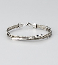 Cellini Stainless Steel Silver/Silver Pave Diagonal Cable Bracelet