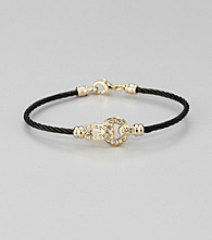 Cellini Stainless Steel Black/Gold Pave Lock Cable Bracelet