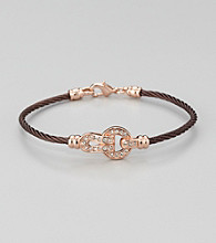 Cellini Stainless Steel Brown/Rose Gold Pave Lock Cable Bracelet