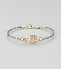 Cellini Stainless Steel Silver/Gold Pave Lock Cable Bracelet