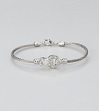 Cellini Stainless Steel Silver/Silver Pave Lock Cable Bracelet