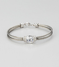 Cellini Stainless Steel Silver/Silver Square Cushion Cut Stone Cable Bracelet